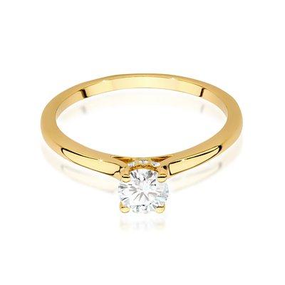 Pierścionek W-547 z kamieniem centralnym 0,40 ct - złoto białe
