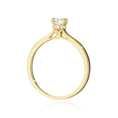 Pierścionek W-547 z kamieniem centralnym 0,50 ct - złoto białe